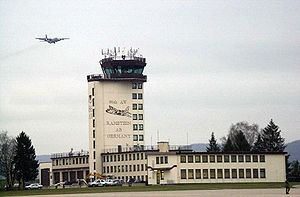 Hercules overflies the control tower at Ramstein Air Base